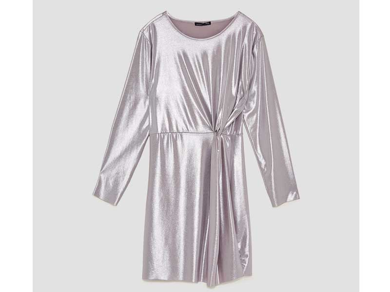 Metallic dress by Zara available at City Centres