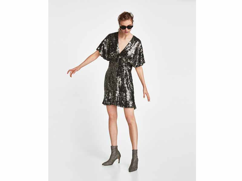 Metallic sequin-splashed mini dress by Zara Dubai