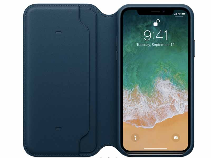 iPhone X Leather folio case at Apple Store in Dubai