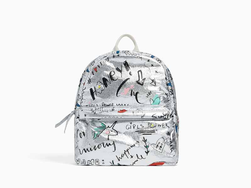 Silver backpack by Zara Kids available at Mall of the Emirates and City Centres