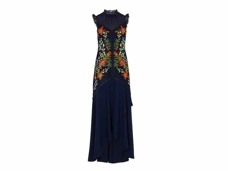 Embroidered dress by Karen Millen, available at Mall of the Emirates and Majid Al Futtaim City Centres