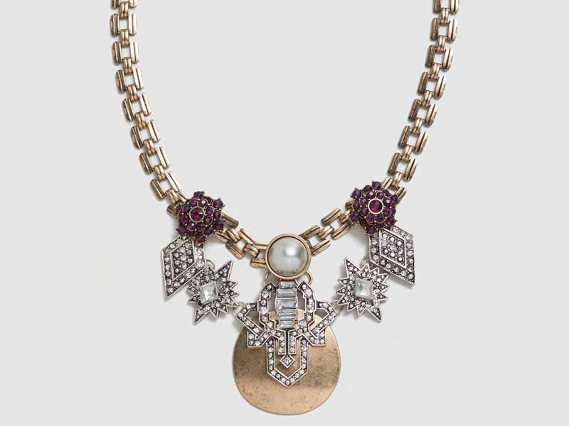 Crystal metal necklace by Mango Dubai