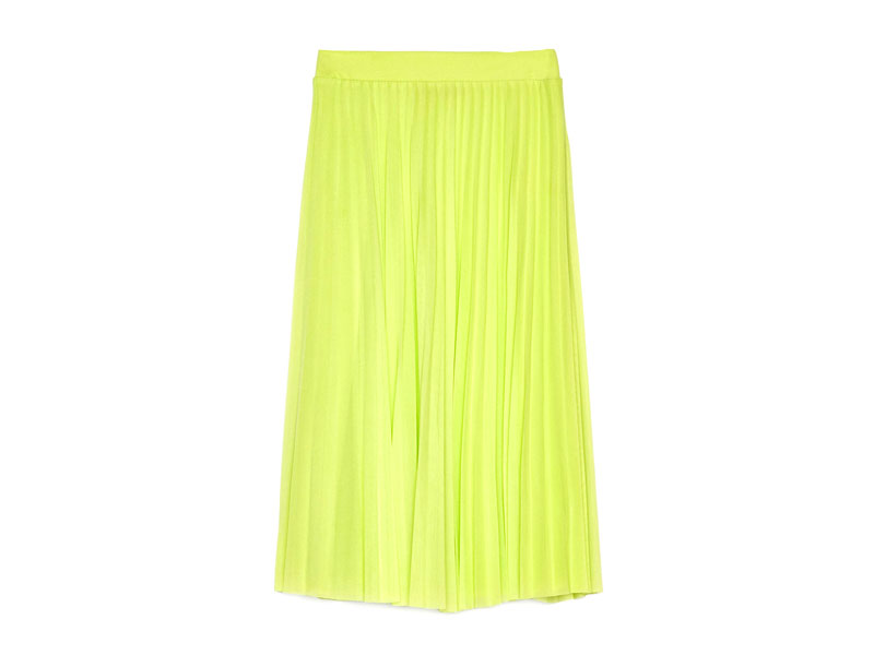 Neon pleated skirt by Bershka, available at Mall of the Emirates and Mall of Egypt, plus City Centres