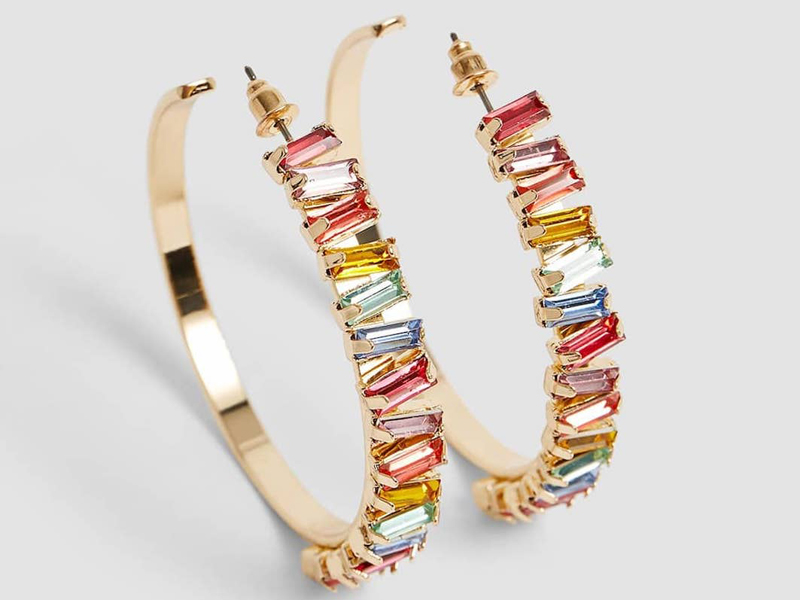 Colourful crystal hoop earrings by Stradivarius, available at City Centre Deira