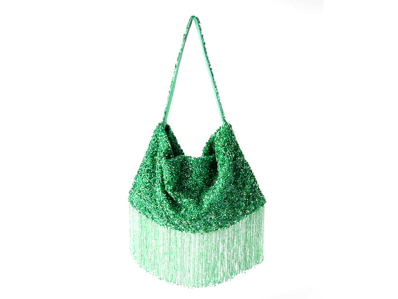 Green breaded ladies' handbag by Zara, available at City Centre Deira