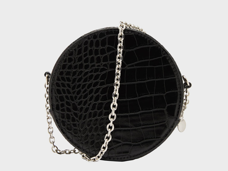 Round black crocodile bag by Bershka, available at City Centre Deira