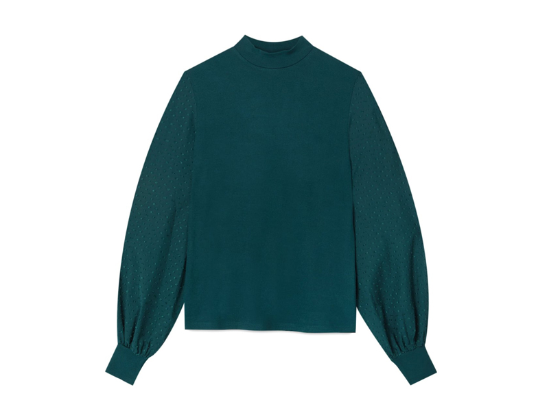 Green puff-sleeve top by Stradivarius, available at City Centre Deira