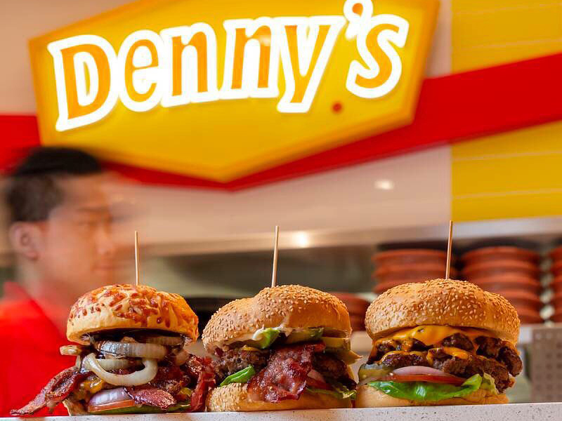 A trio of burgers at Denny's in City Centre Deira