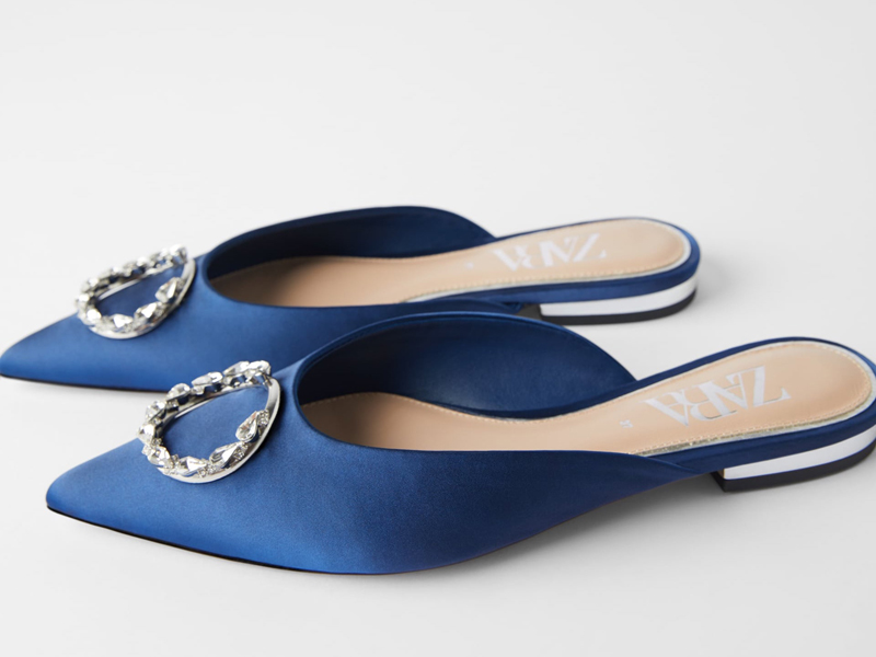 Crystal and satin blue mules by Zara available at City Centre Deira
