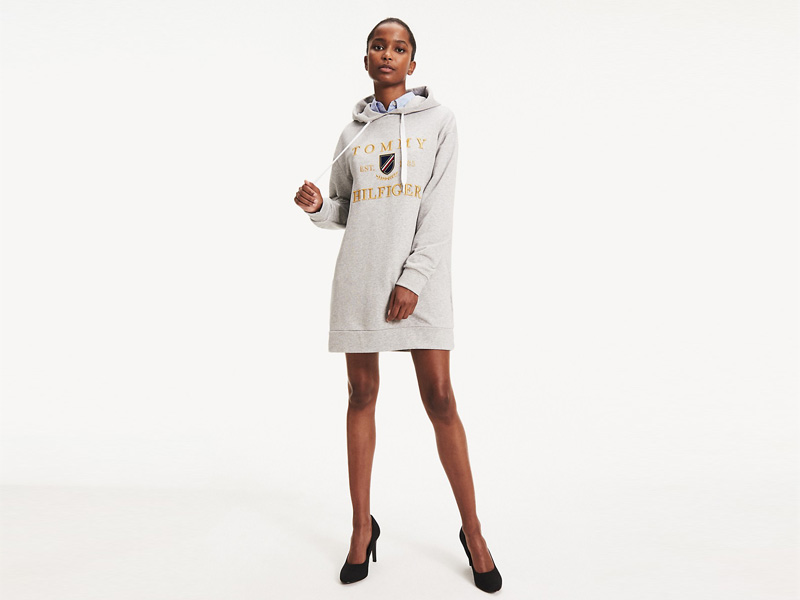 Grey hoodie dress by Tommy Hilfiger at City Centre Deira
