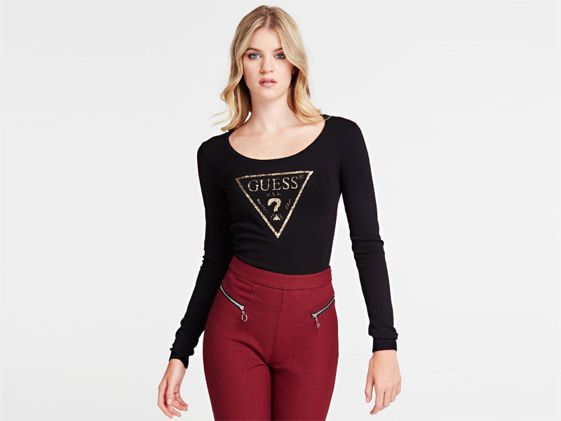 Black triangle logo jumper by Guess at City Centre Deira